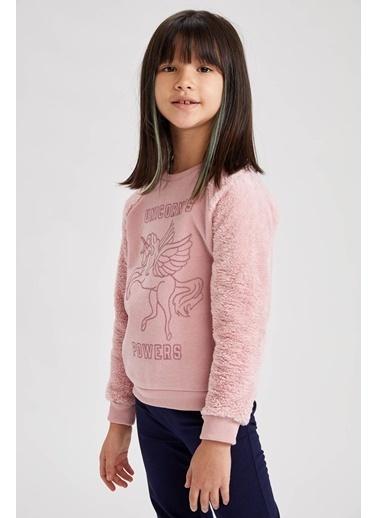 DeFacto Kız Çocuk Baskılı Selanik Kumaş Sweatshirt Pembe